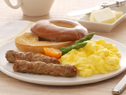 Pork Breakfast Sausage Links With Bagel and Eggs