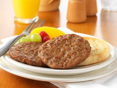 Pork Breakfast Sausage Links with Fruit and English Muffin