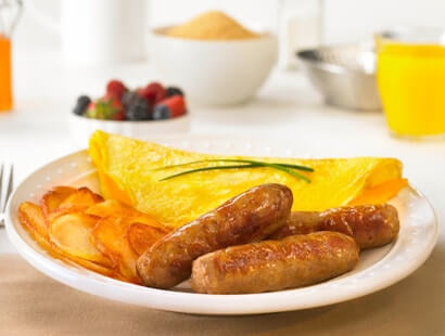 Pork Breakfast Sausage Links with Eggs and Potatoes