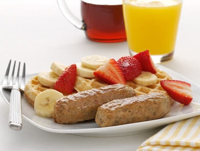 Chicken Breakfast Sausage Links with Waffles and Fruit