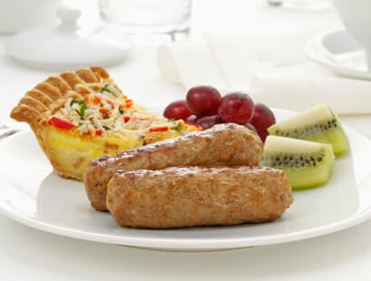 Pork Breakfast Sausage Links With Quiche and Fruit