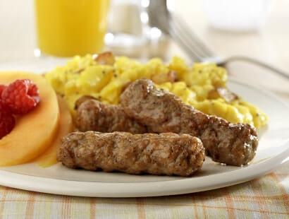 Plated Breakfast With Pork Breakfast Sausage Links