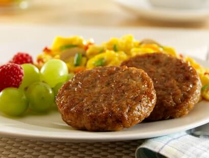 Plated Pork Breakfast Sausage Patties