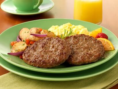 Pork Breakfast Sausage Patties with Potatoes and Eggs