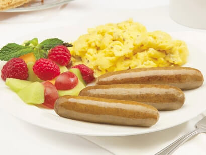 Pork Breakfast Sausage Links With Eggs and Fruit