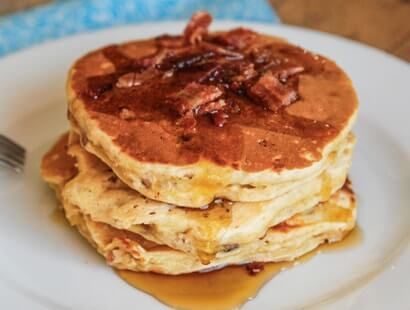Bacon Banana Buttermilk Oat Pancakes Recipe