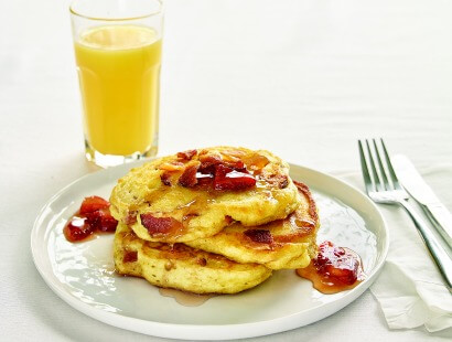 Bacon Pancakes with Strawberry Maple Jam