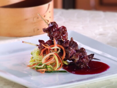Bacon Skewers with Blood Orange Barbecue Sauce