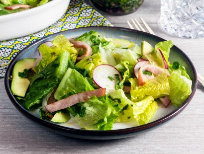 Canadian Bacon Avocado Salad with Chimichurri Dressing Recipe
