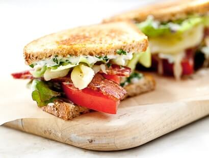 Cherrywood Smoked BLT with Fontina and Herb Aioli