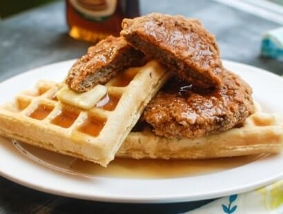 Chicken Fried Chicken Sausage & Waffles