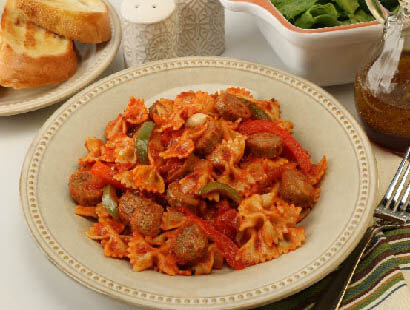 Skillet Chicken Sausage & Peppers with Pasta