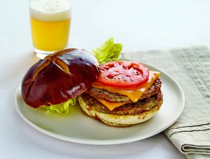 Chicken Sausage Pretzel Burgers with Honey Mustard Sauce