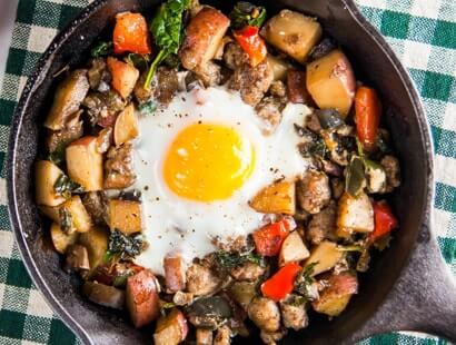 Farmers Market Hash with Baked Eggs Recipe