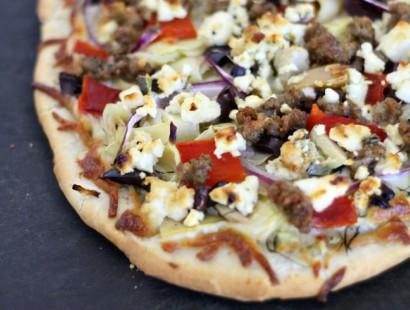 greek sausage pizza