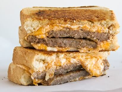 Breakfast Sausage Grilled Cheese Sandwiches
