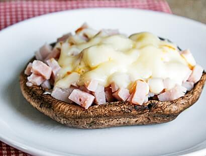 Grilled Ham & Cheese Portabella Mushroom Caps