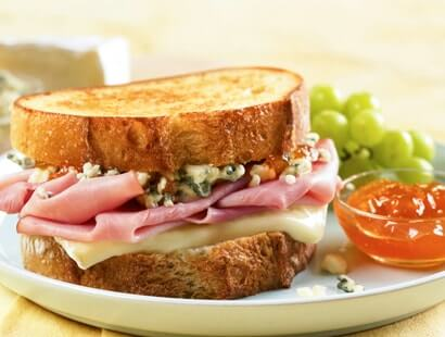 Grilled Ham, Brie & Blue Cheese Sandwich