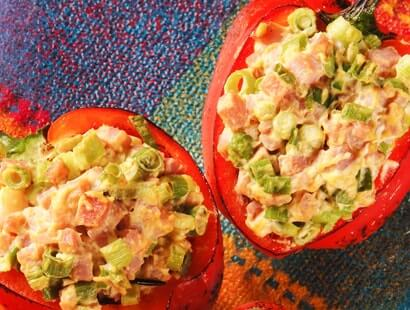 Grilled Peppers Stuffed with Ham Salad Recipe