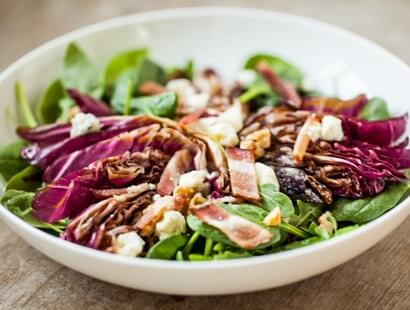 Grilled Radicchio Salad with Bacon & Blue Cheese