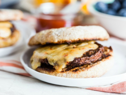 grilled sausage and cheese english muffin sandwich