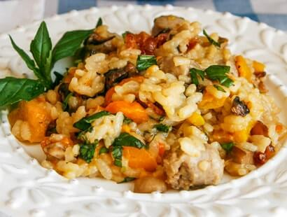 Grilled Vegetable & Bacon Risotto