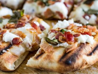Grilled White Pizza with Bacon & Basil