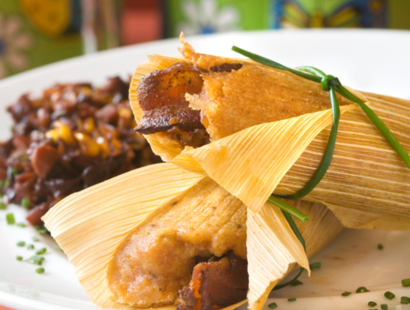 Cherrywood Bacon & Duck Tamales with Cherry Relish