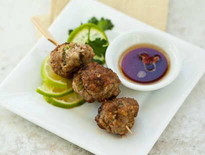 Potsticker Meatballs with Sesame-Lime Dipping Sauce