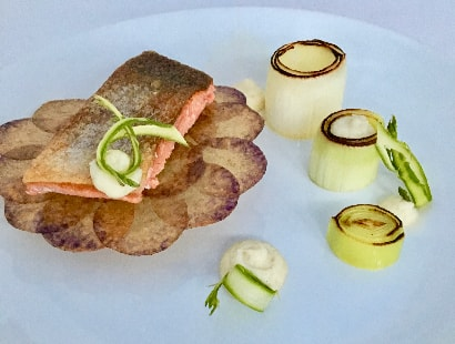 Salmon with Smoked Bacon and Leek Puree and Smoked Bacon Broth