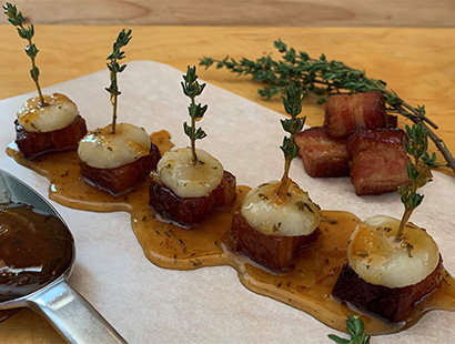 Cherrywood Bacon and Water Chestnut Bites with Orange Thyme Glaze
