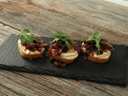 Cherrywood Bacon Jam and Brie Crostini