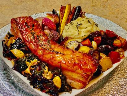 Bourbon Glazed Bacon Slab with Roasted Vegetables & Garlic Parsnip Puree