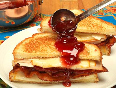 Croque Madame Sandwich with Cherry Sauce