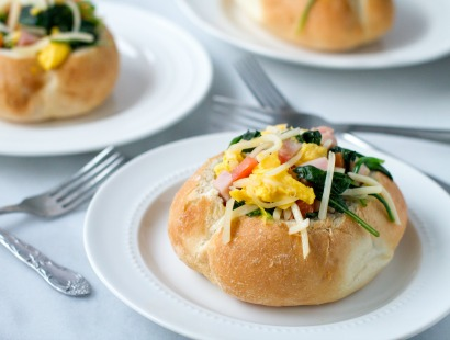 Ham and Swiss Breakfast Bread-Bowls