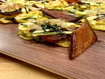 Okonomiyaki with Soy Glazed Pork Belly